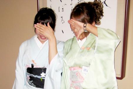 Enaki girls wearing kimono (costume)