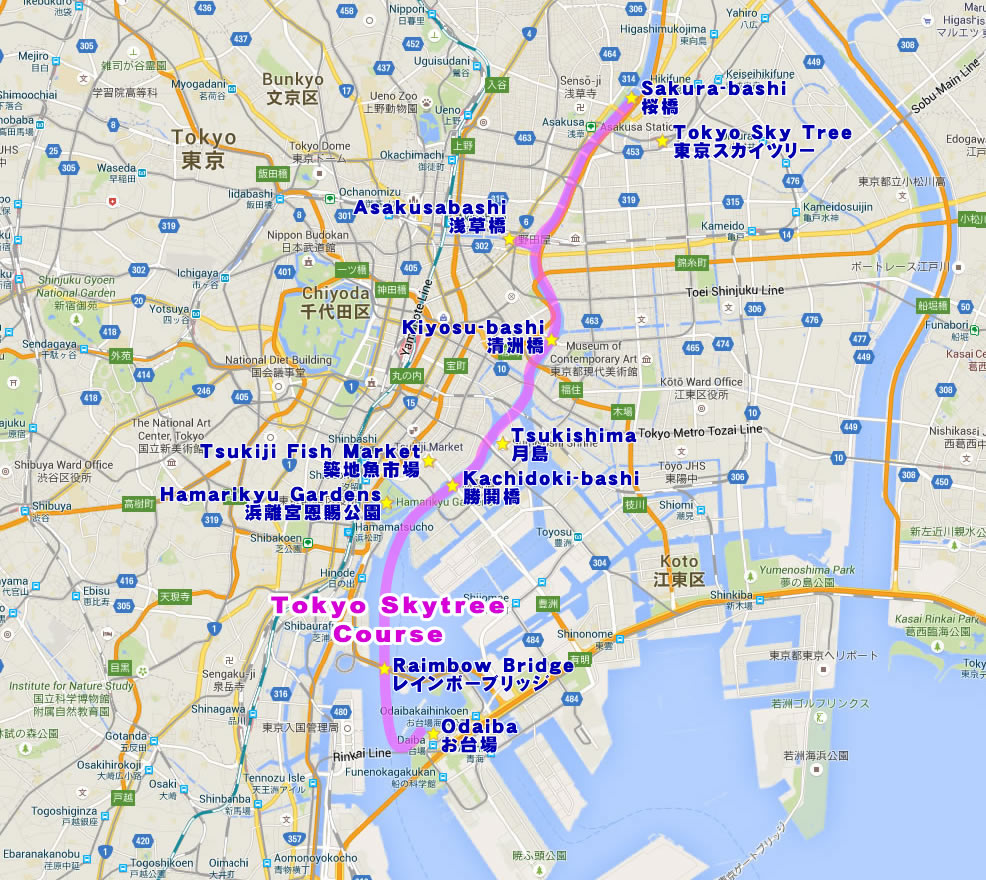 Yakatabune Route Map - Tokyo Skytree Course